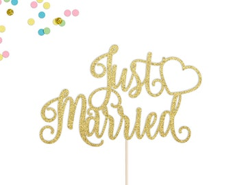 Just Married Cake Topper | Wedding Cake Topper | Wedding Cake Decor | Traditional Wedding Cake Topper | Just Married | Love Cake Topper