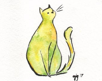 "Cat Illustration - 4x4"" - Watercolor and Gouache"