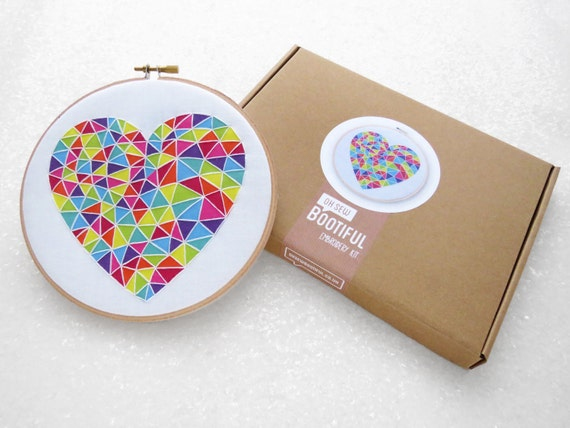 Beginner embroidery kit diy valentines gift by ohsewbootiful