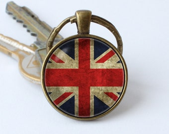 UK flag keychain Union Jack key ring British flag jewelry Flag key chain UK pendant Patriotic gift United Kingdom keyring Birthday gift