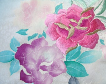 Japanese Silk KIMONO Fabric -  SILK Embroidered Rose