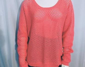 30% OFF Summer Knitt Sweater/Size L Knitt Top/ Salmon Knitt Pullover/Long Sleeves Summet Pullover/Vinage Summer Sweater/Gift For Her/No.295