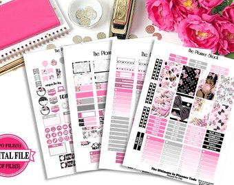 Audrey 1 // Pink // Happy Planner // Printable Planner Stickers