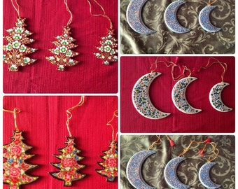 Tree or Moon Christmas Ornaments