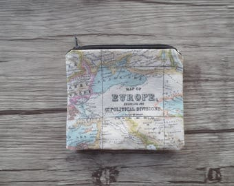 MAP ATLAS COIN purse, travel, holiday, journey , Zipper Pouch, Earphones, Lipstick, Small Items Bag Organizer, Credit Card Case, Small Gift