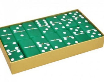 Frosted Emerald Green Engraved Dominoes