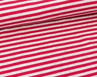 ORGANIC Cotton JERSEY Fabric - Red Cream Melange Stripes - UK Seller