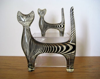1 Large and 1 Small Abraham Palatnik Lucite Cat Sculptures / 1970's