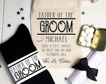 Vintage Style Father of the Groom Wedding Essentials Gift Set Socks, Mints, Handkerchief and Personalised Gift Bag