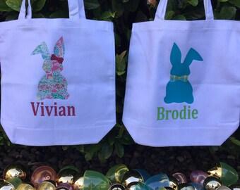 Easter tote, easter basket, easter egg hunt, bunny tote, custom easter gift