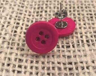 Hot pink button earrings!