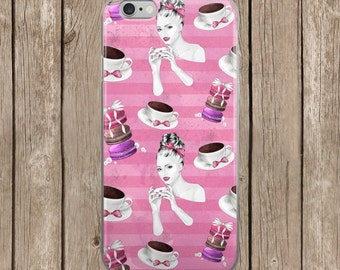Pink Coffee Girl Pattern iPhone Case | iPhone 5/5s/SE | iPhone 6/6s | iPhone 6 Plus/6s Plus |  iPhone 7 | iPhone 7 Plus