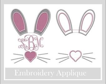 Monogram bunny appliqué design, Easter monogram, Monogram applique, Bunny applique Easter appliqué design, Bunny monogram applique