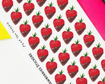 Chocolate Covered Strawberry Planning Stickers