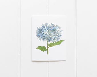 Watercolor hydrangea stationery, floral notecards, botanical notecard set