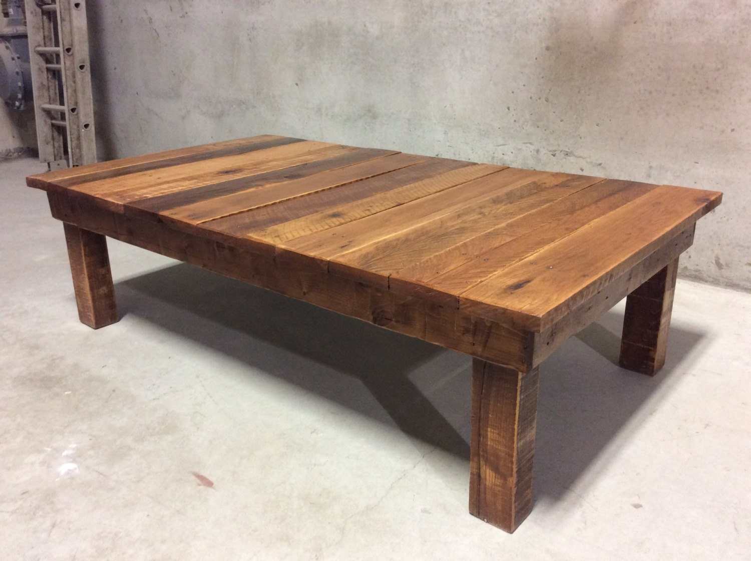 Large reclaimed wood coffee table Wide coffee table