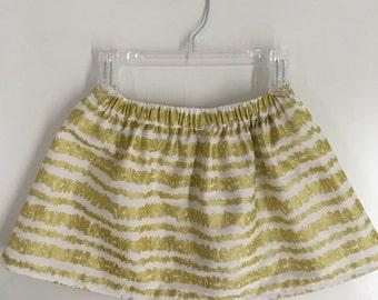 Girl's skirt, toddler skirt, holiday skirt, party skirt, gold and white skirt, shiny skirt