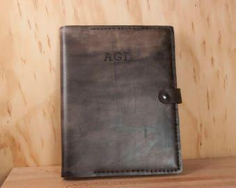 Monogram Leather Sketchbook or Large Notebook - Handmade Customized Sketchbook in Antique Black with Monogram - Graduation or Wedding Gift