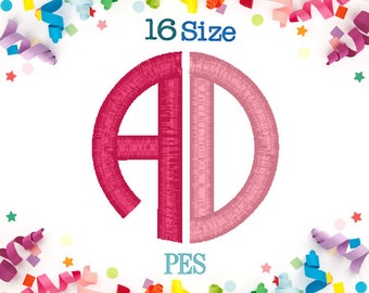 16 Sizes Circle Monogram Embroidery Font Two Letters PES Embroidery Machine,Monogram Embroidery,Embroidery Font,Monogram Font,Initials