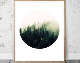 Forest Print, Circle Print, nature Photography, Forest Photography, winter Print, Forest Art, Download Art, Scandinavian decor, minimal