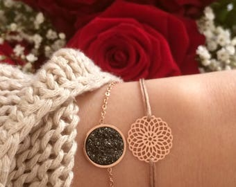 Filigree bracelet Blackstone/rose gold