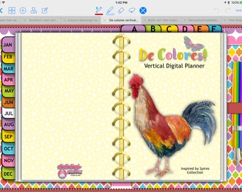 De Colores Tabbed Vertical aWeekly Planner