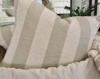 Linen Blend Striped Pillow Cover