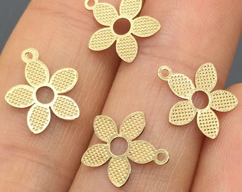 30pcs 10mm 24K Gold Plated Flower Charms,Flower Pendant, Brass Charms,Jewelry Findings