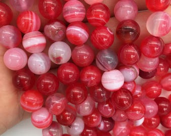 1Full Strand Agate Round Beads,8mm 10mm Dark Pink Agate Gemstone For Jewelry Making