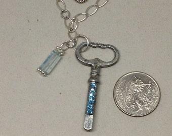 Vintage Key Necklace with Aquamarine