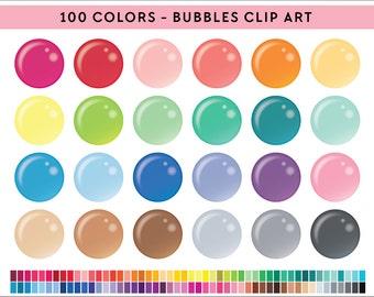 100 Bubbles Clipart, Commercial use, PNG,  Digital clip art, Digital images, Rainbow digital scrapbooking clip art, translucent bubble, orbs
