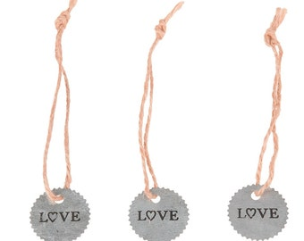 Set of 3 Zinc LOVE Tags With Rope 3cm