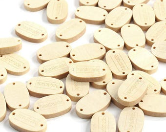 10 x Small Wooden 2-holed Tags with text 'Handmade' - attach to handmade items