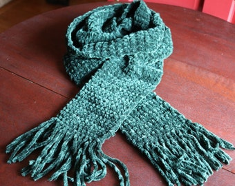 "Green Hand Knit scarf extra long scarf with fringe, 104"" long handmade Christmas scarf"