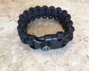 Extreme Survival Bracelet, Titan Surviorcord Survival Bracelet, Extreme Paracord Bracelet, Whistle, flint, Scrapper and Compass Buckle