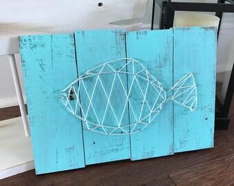 Fish String Art - Fish Decor, Nautical Decor, Fish Wall Art, Ocean Decor, Beach Decor
