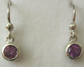 Genuine Solid 925 Sterling Silver February Birthstone AMETHYST Hook Earrings