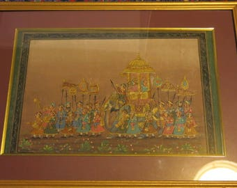 Fine Court Painting of Maharaja on Silk in Frame 310mm X 200mm