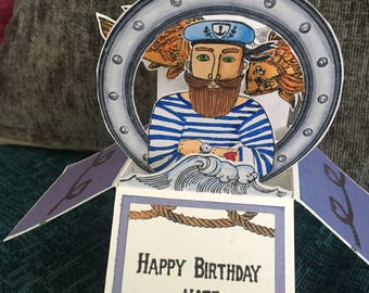Sailor theme pop up box card birthday or fathers day