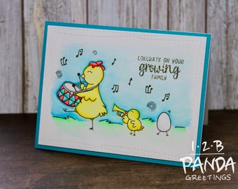 Cute Parading Chicken Baby Shower Card