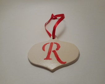Personalized First Initial Ceramic Ornament R, Handmade Pottery, Hand Painted, Christmas, Holiday Decor