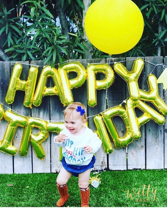 Happy Birthday Balloon Banner Goldbirthday Partyletter Balloons