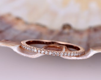 Diamond wedding band,Petite French micro pave band,solid 14k rose gold,FULL eternity ring,engagement ring,stack matching band,thin band