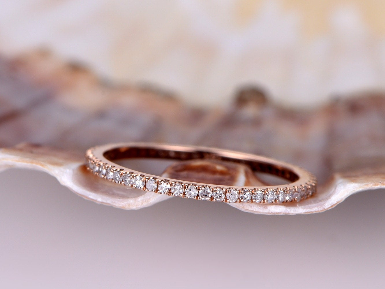 Diamond Wedding Band,petite French Micro Pave Band,solid 14k Rose Gold,full