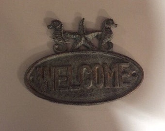 Rustic Cast iron welcome sign, beach, home decor, table decor