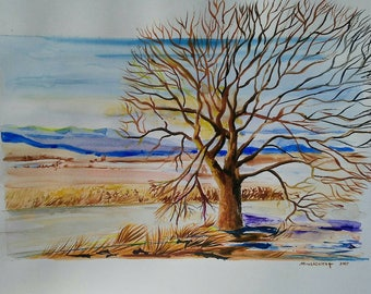 Lonely tree landscape, original watercolor painting