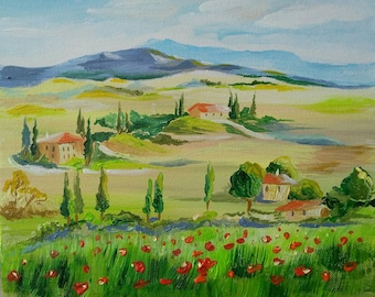 Poppy field in Tuscany, original acrylic painting, poppies and trees in a peaceful landscape, mountains, hills and grass, red poppies