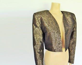Free Global Shipping* Gold Jacket, Ladies, Cropped Gold Jacket, Gold Bolero, Eveningwear, Gold Bolero, Party, Prom, Boho, Jacket, Gold