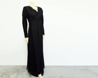 Vintage Dress, UK18, Embroidered, Eveningwear, Party, Dress, Vintage Clothing, Maxi Dress, Prom, Lace, Black Dress, Vintage Clothing