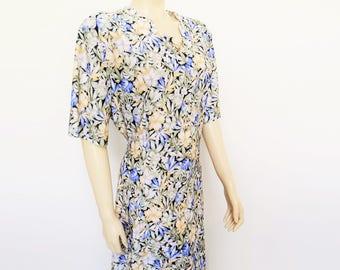 Free Global Shipping* Boho Dress, Curvy Girl, Vintage Dress, UK24, Vintage Clothing, Plussize, Midi Dress, Boho, Hippie, Florals